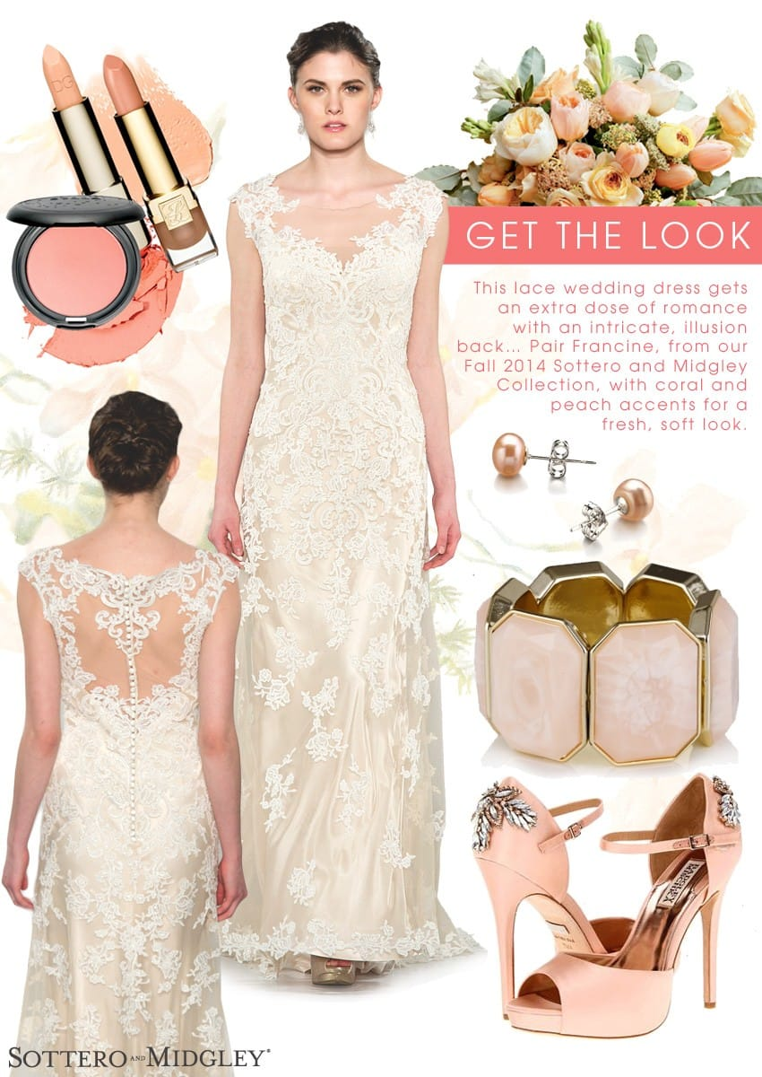 From our Fall 2014 Collection, here's a sneak peek on how to style our Francine gown with coral wedding accents.