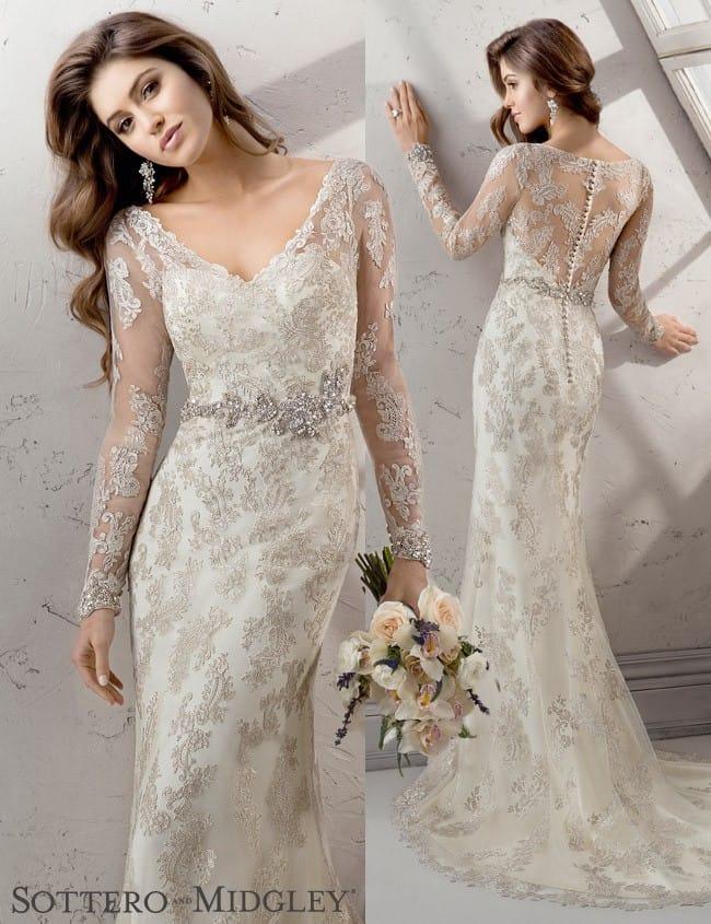 Anastasia, a gorgeous long sleeve wedding dress by Sottero and Midgley.