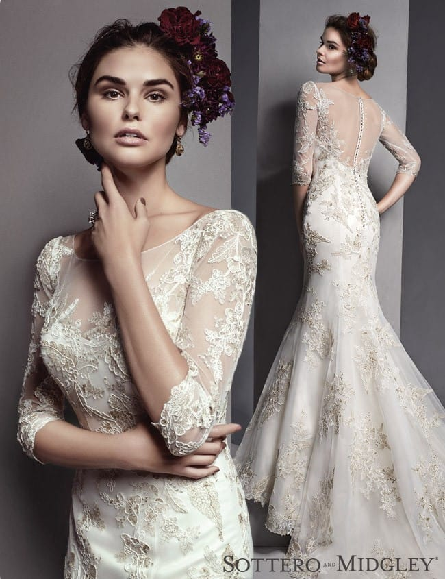 Vivyana, a gorgeous three quarter sleeve wedding dress by Sottero and Midgley.