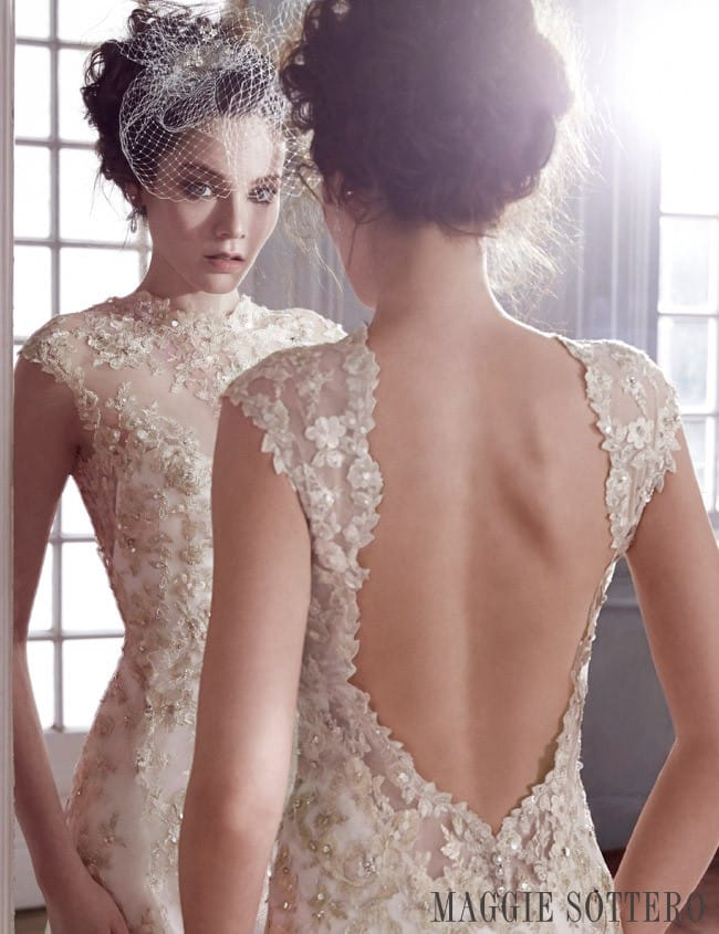 Camelia, gold lace sheath wedding dress by Maggie Sottero