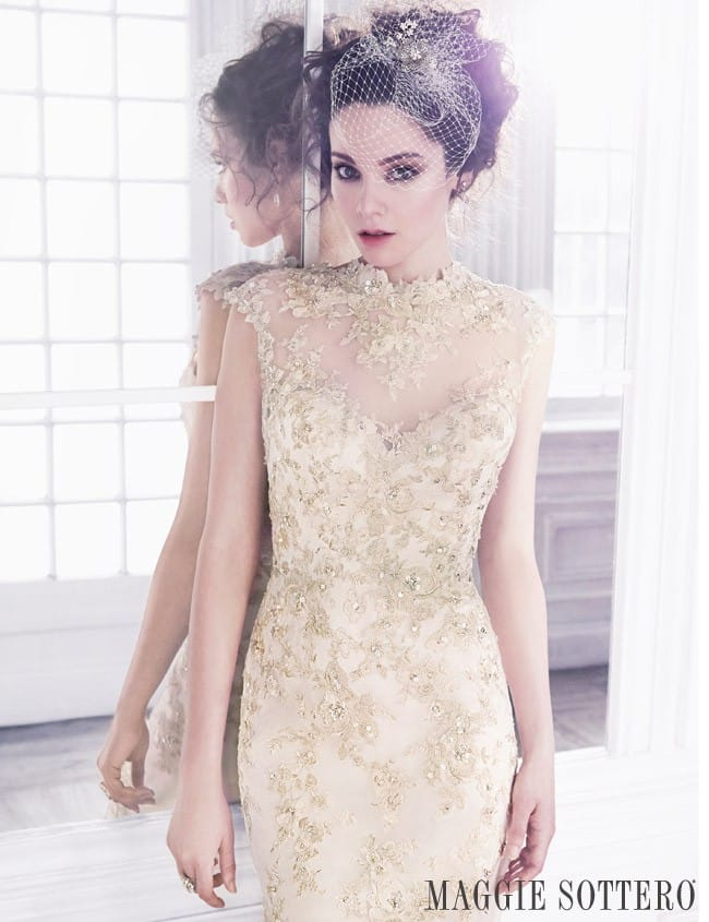 Camelia, gold lace wedding dress by Maggie Sottero