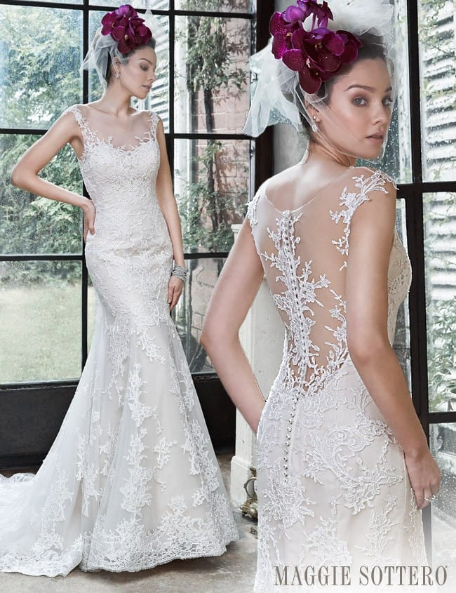 Lace and tulle wedding dress by Maggie Sottero