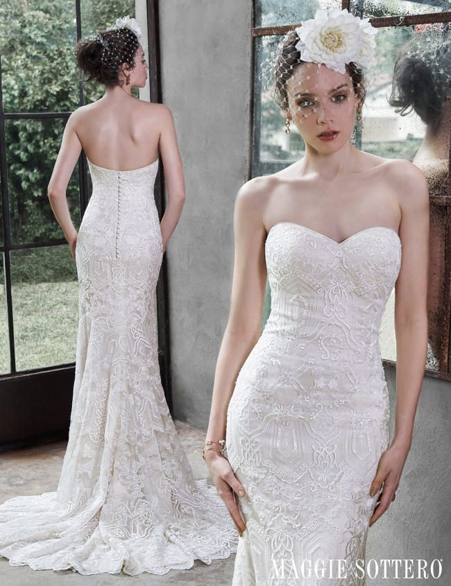 Fredricka... A geometric lace wedding gown by Maggie Sottero.